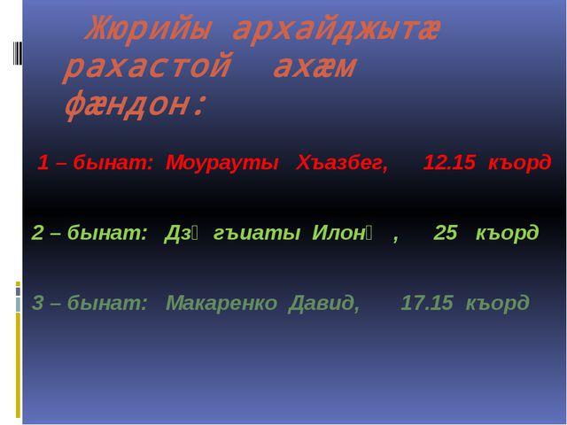 Жюрийы архайджытӕ рахастой ахӕм фӕндон: 1 – бынат: Моурауты Хъазбег, 12.15...