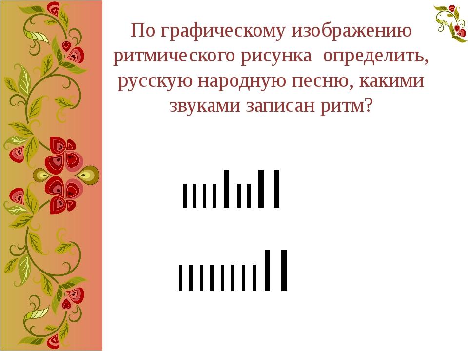 По графическому изображению ритмического рисунка определить, русскую народную...