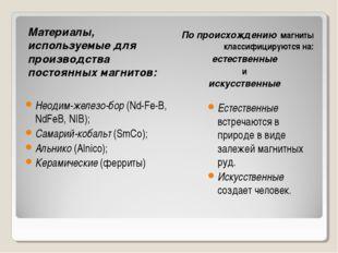 Материалы, используемые для производства постоянных магнитов: По происхождени