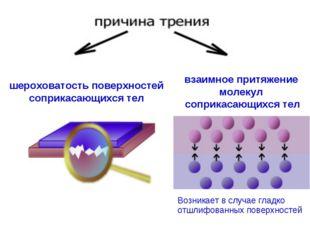 шероховатость поверхностей соприкасающихся тел взаимное притяжение молекул со
