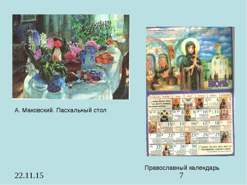 Православный календарь А. Маковский. Пасхальный стол