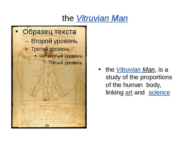 theVitruvian Man theVitruvian Man, is a study of the proportions of the hum...