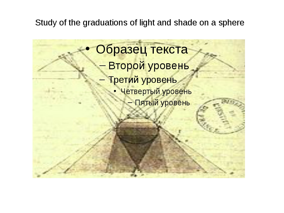 Study of the graduations of light and shade on a sphere
