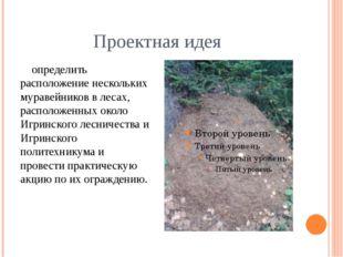 Проектная идея определить расположение нескольких муравейников в лесах, распо