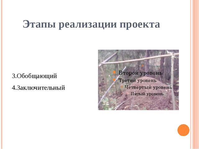 Этапы реализации проекта 3.Обобщающий 4.Заключительный