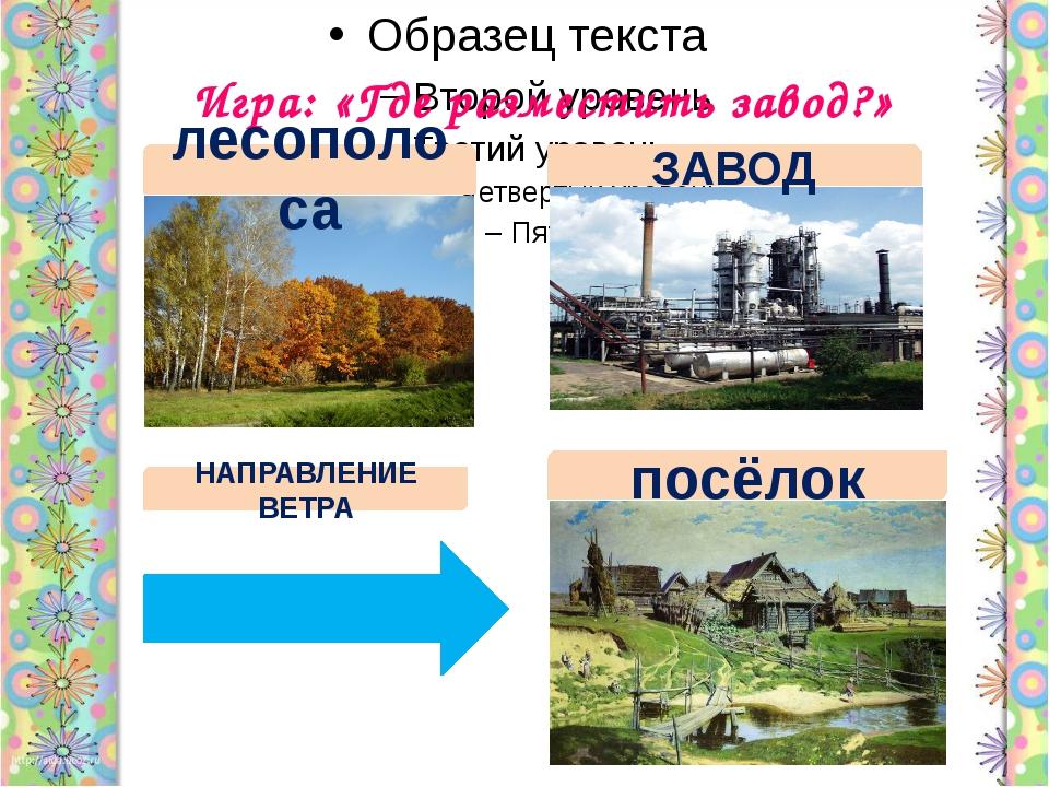 Игра: «Где разместить завод?» лесополоса ЗАВОД посёлок НАПРАВЛЕНИЕ ВЕТРА