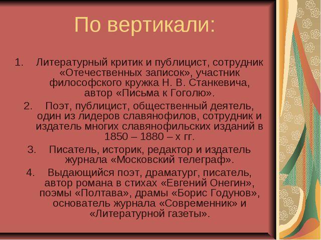 По вертикали: Литературный критик и публицист, сотрудник «Отечественных запис...