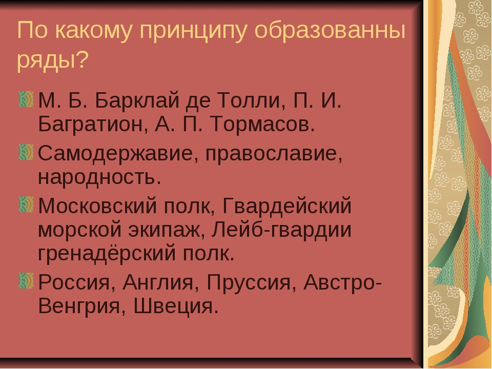 По какому принципу образованны ряды? М. Б. Барклай де Толли, П. И. Багратион,...
