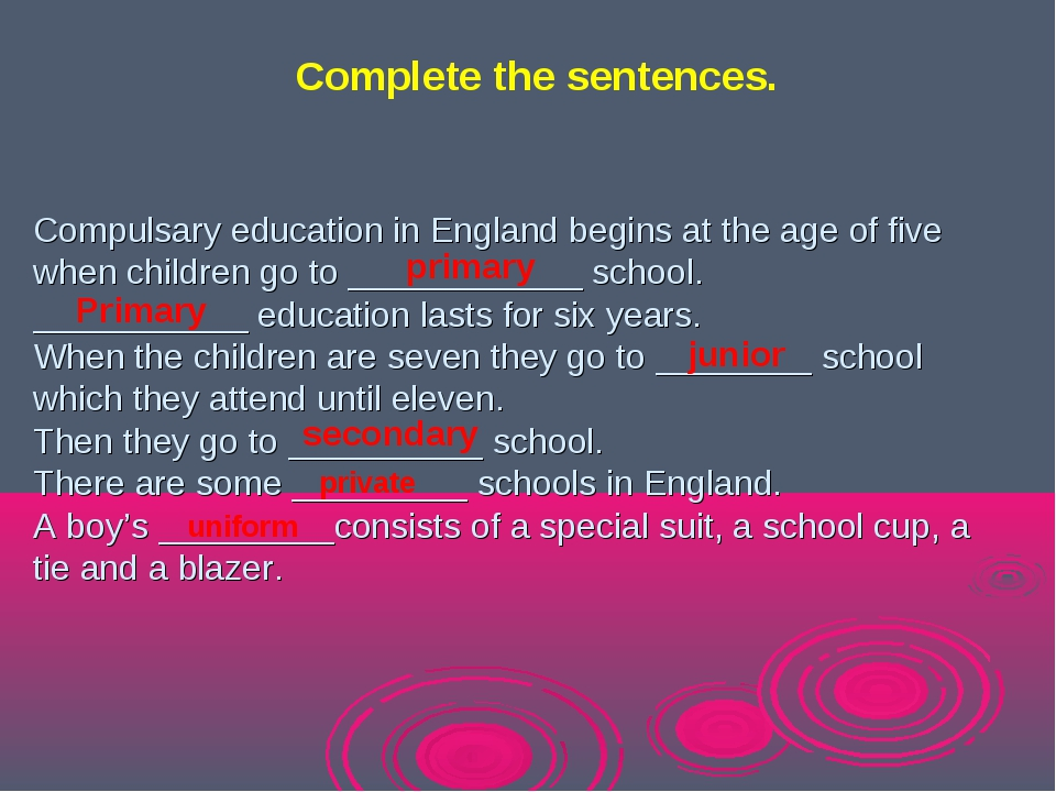 Compulsary education in England begins at the age of five when children go to...