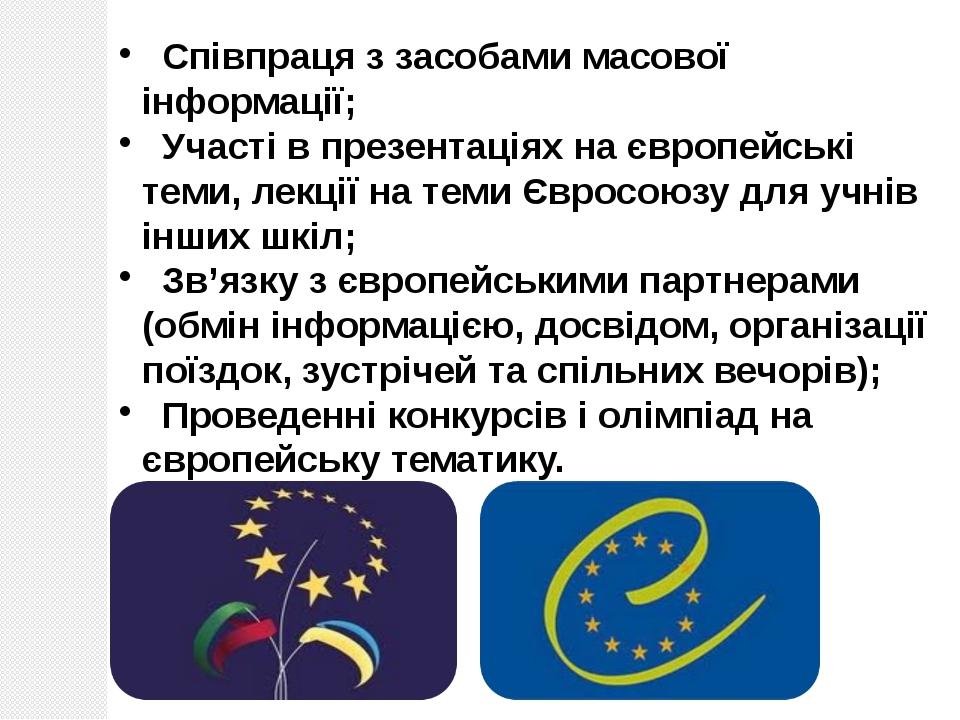 Співпраця з засобами масової інформації; Участі в презентаціях на європейськ...