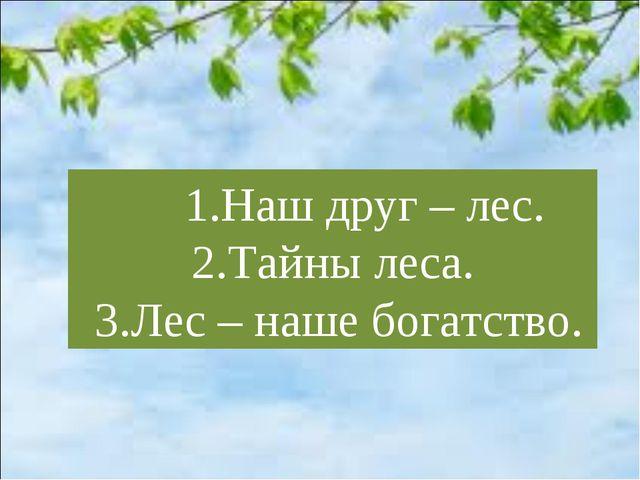 1.Наш друг – лес. 2.Тайны леса. 3.Лес – наше богатство.