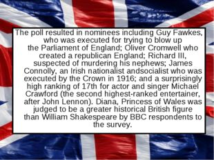 The poll resulted in nominees including Guy Fawkes, who was executed for tryi