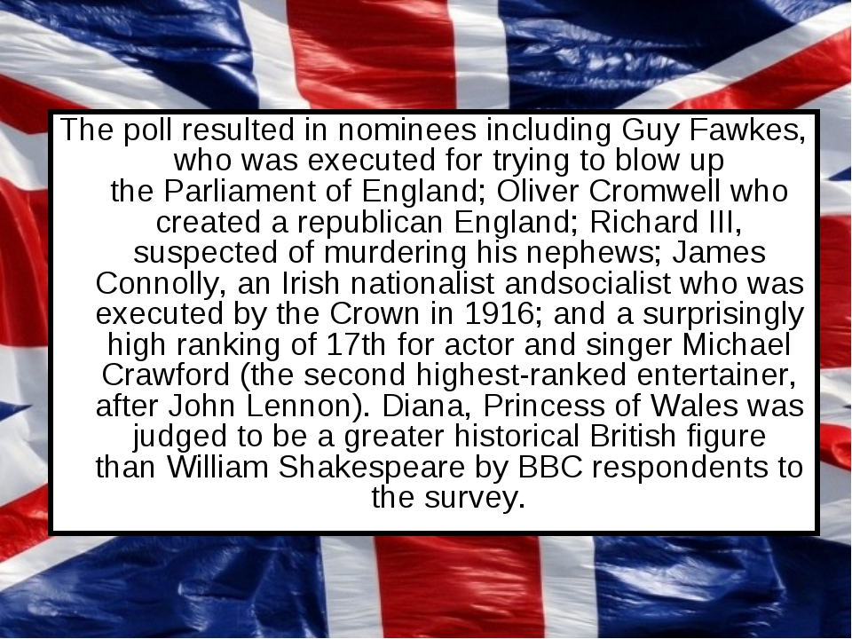 The poll resulted in nominees including Guy Fawkes, who was executed for tryi...