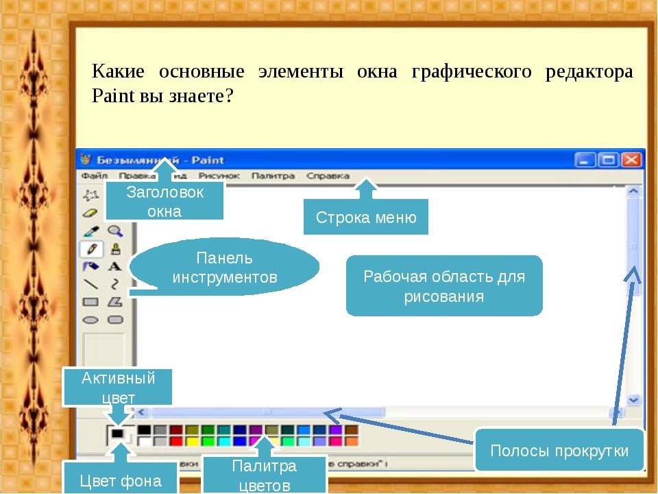 Какие основные элементы окна графического редактора Paint вы знаете? Строка м...