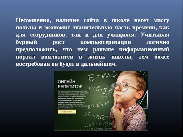 Несомненно, наличие сайта в школе несет массу пользы и экономит значительную...