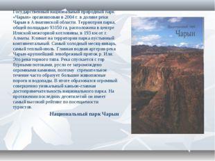 Государственный национальный природный парк «Чарын» органиизован в 2004 г. в
