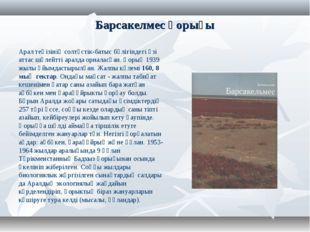 Барсакелмес қорығы Арал теңізініңсолтүстік-батыс бөлігіндегі өзі аттас шөлей