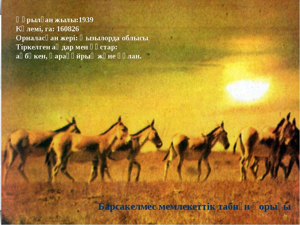 Құрылған жылы:1939 Көлемі, га: 160826 Орналасқан жері: Қызылорда облысы Тірке...