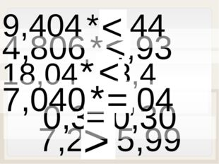 7,2 * 5,99 > 18,04 * 18,4 < 0,3 *0,30 = 4,806 * 4,93 < 9,404 * 9,44 < 7,040 *