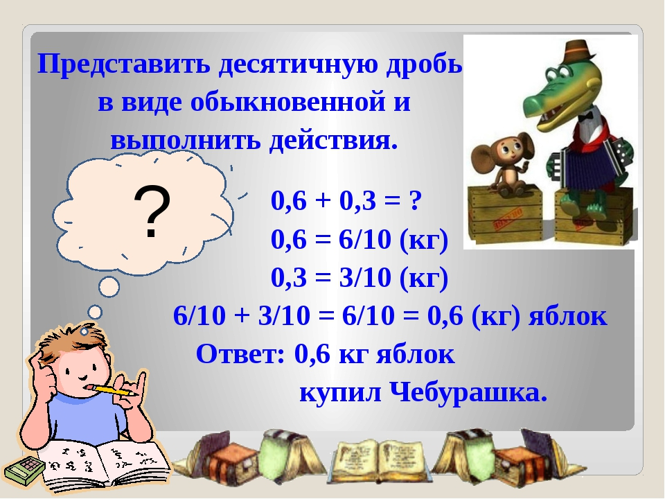 ? 0,6 + 0,3 = ? 0,6 = 6/10 (кг) 0,3 = 3/10 (кг) 6/10 + 3/10 = 6/10 = 0,6 (кг...