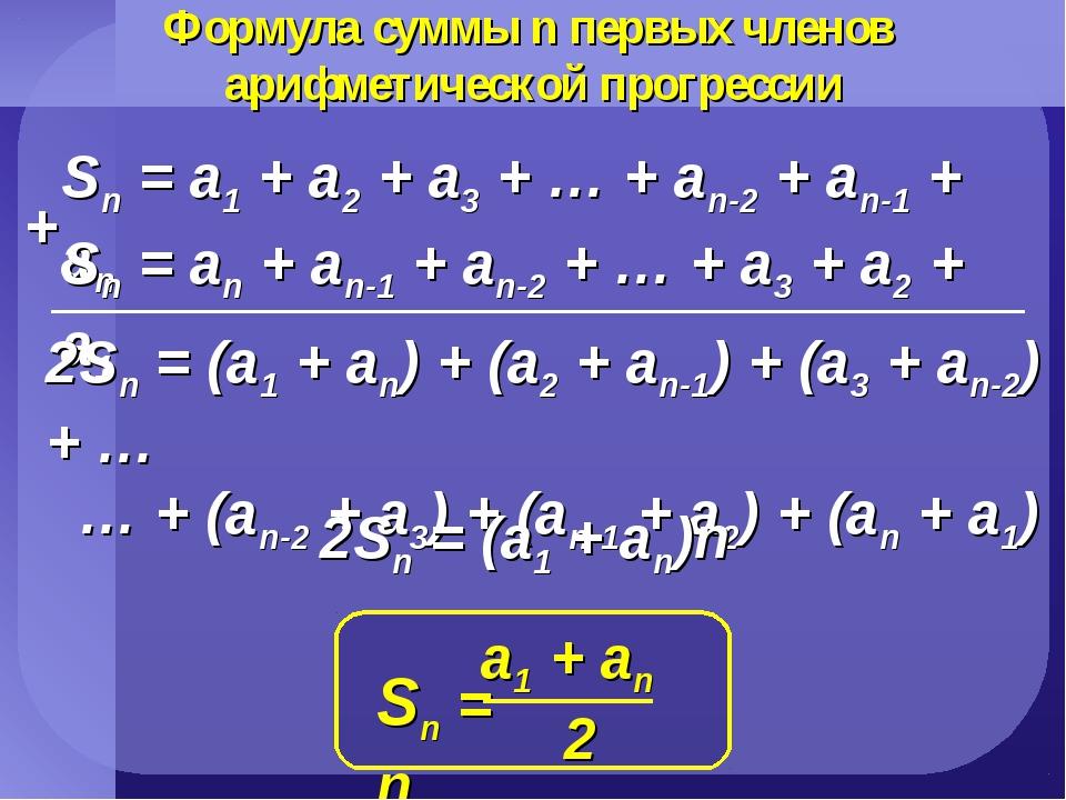 Формула суммы n первых членов арифметической прогрессии Sn = a1 + a2 + a3 + …...