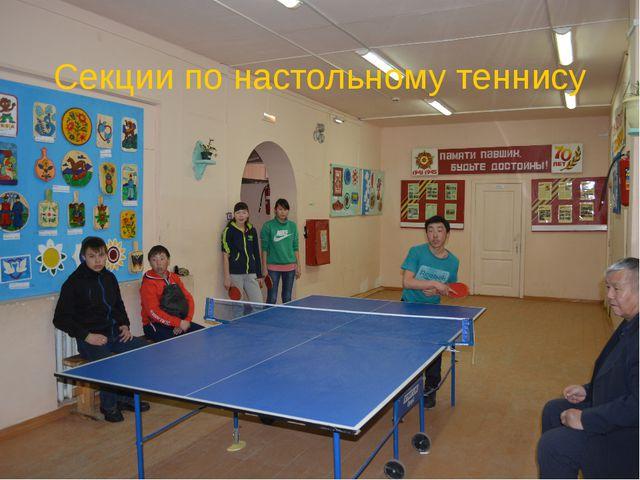 Секции по настольному теннису