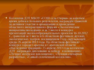 Коллектив ДЭТ МБОУ «СОШ села Озерки» за короткое время добился больших резуль