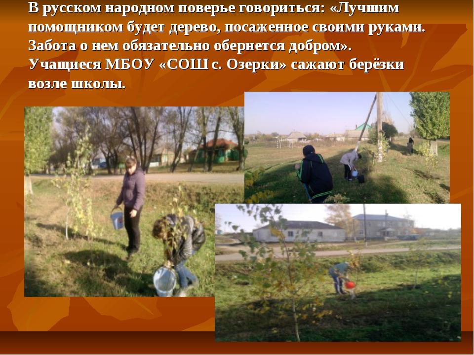 В русском народном поверье говориться: «Лучшим помощником будет дерево, поса...