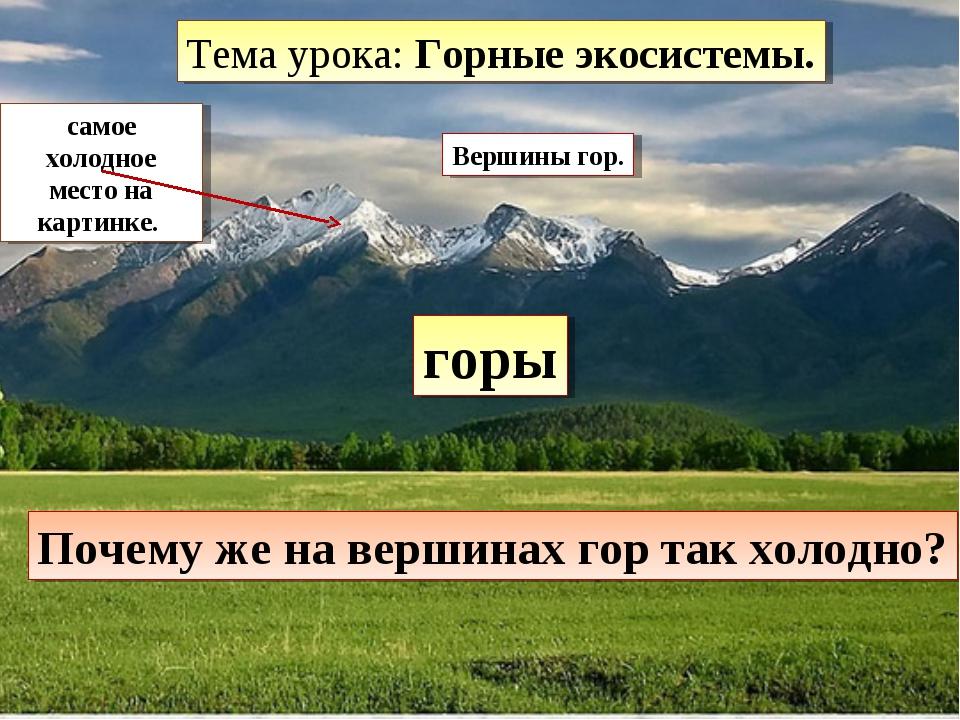 горы самое холодное место на картинке. Вершины гор. Почему же на вершинах гор...