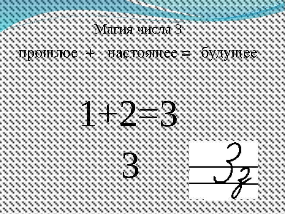 прошлое + настоящее = будущее 1+2=3 3 Магия числа 3
