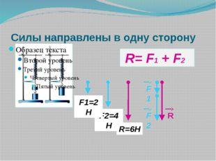 F2=4Н F1=2Н R=6Н F2 F1 R R= F1 + F2 Силы направлены в одну сторону