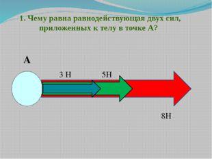 1. Чему равна равнодействующая двух сил, приложенных к телу в точке А? А 8Н