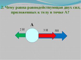 2. Чему равна равнодействующая двух сил, приложенных к телу в точке А? А 5Н