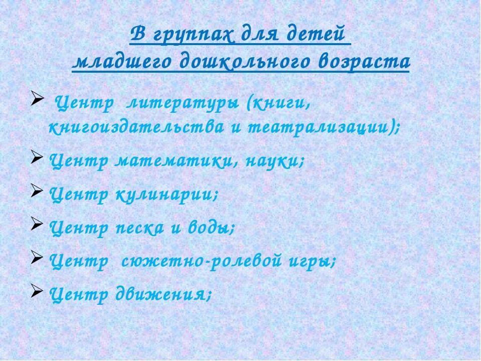В группах для детей младшего дошкольного возраста Центр литературы (книги, кн...