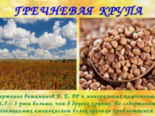 ГРЕЧНЕВАЯ КРУПА Содержание витаминов В, Е, РР и минеральных компонентов в 1,5