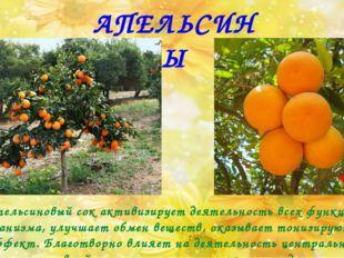 АПЕЛЬСИНЫ Апельсиновый сок активизирует деятельность всех функций организма,