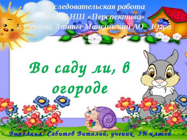 Во саду ли, в огороде Выполнил: Сабитов Виталий, ученик 3И класса Исследовате...