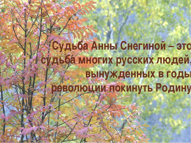 Судьба Анны Снегиной – это судьба многих русских людей, вынужденных в годы ре...