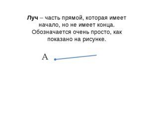 Луч – часть прямой, которая имеет начало, но не имеет конца. Обозначается оче