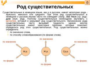 Род существительных Cуществительные в немецком языке, как и в русском, имеют