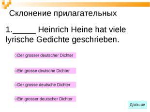 _____ Heinrich Heine hat viele lyrische Gedichte geschrieben. Склонение прила