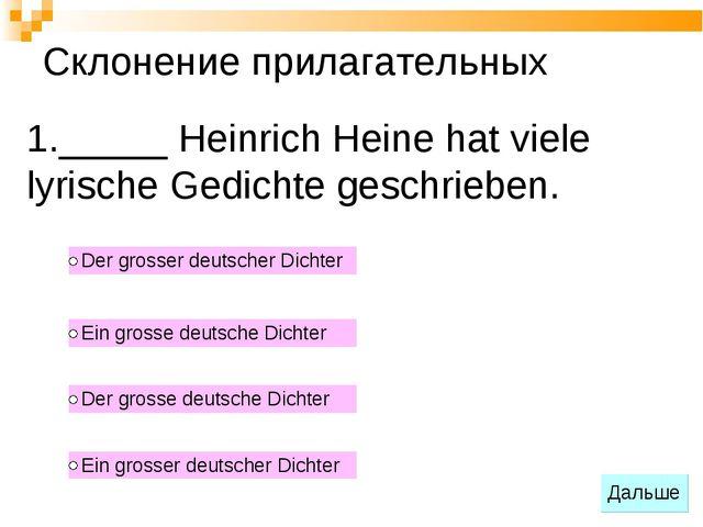_____ Heinrich Heine hat viele lyrische Gedichte geschrieben. Склонение прила...