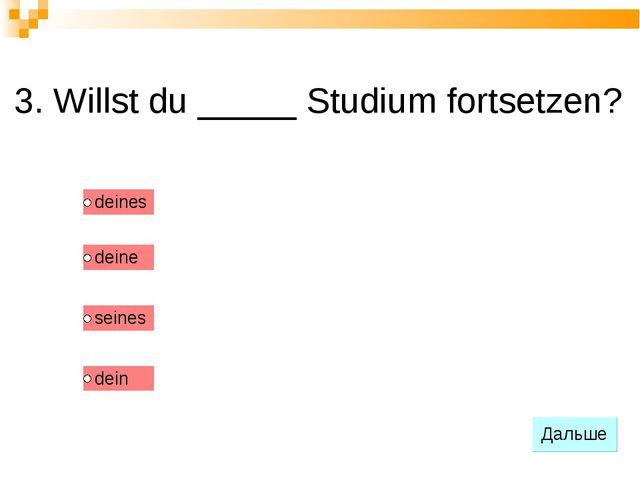3. Willst du _____ Studium fortsetzen?