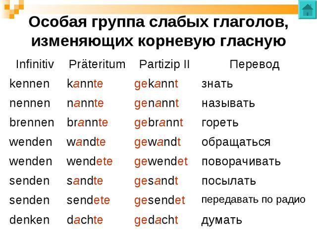 Особая группа слабых глаголов, изменяющих корневую гласную InfinitivPräterit...