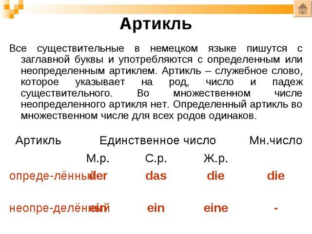 Артикль Все существительные в немецком языке пишутся с заглавной буквы и упот...