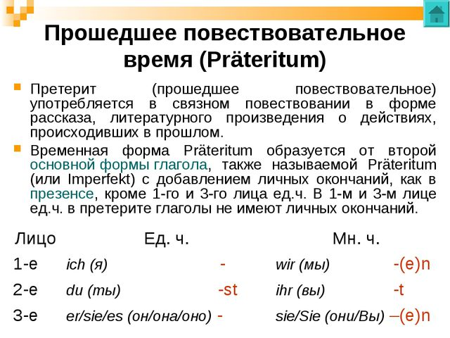 Прошедшее повествовательное время (Präteritum) Претерит (прошедшее повествова...