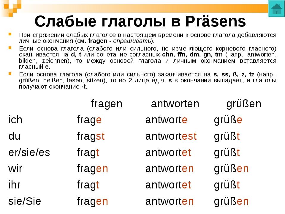 Слабые глаголы в Präsens При спряжении слабых глаголов в настоящем времени к...