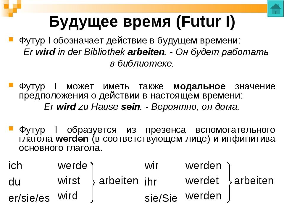 Будущее время (Futur I) Футур I обозначает действие в будущем времени: Er wir...