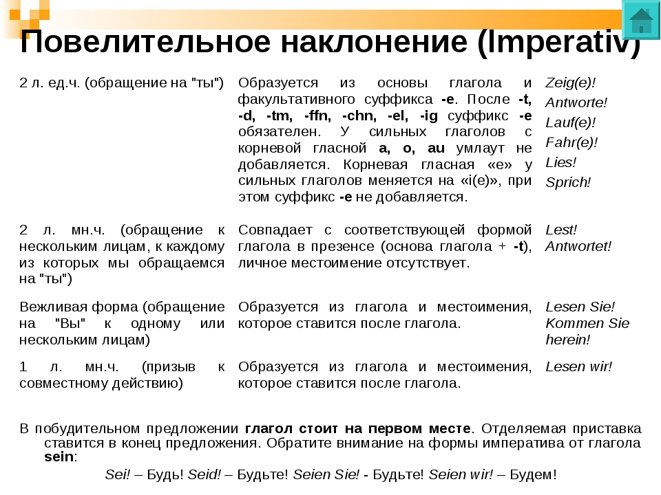 Повелительное наклонение (Imperativ) В побудительном предложении глагол стоит...