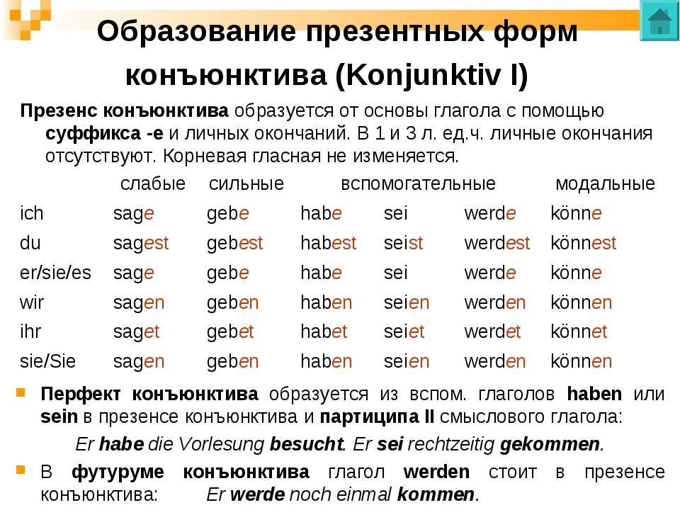 Образование презентных форм конъюнктива (Konjunktiv I) Презенс конъюнктива об...